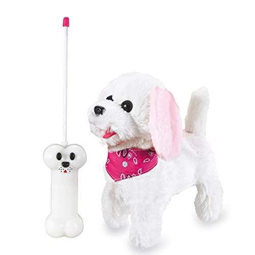 JAMARA 460341 - Laufender Hund mit Sound Plüsch, Fernsteuerung, weiß/rosa