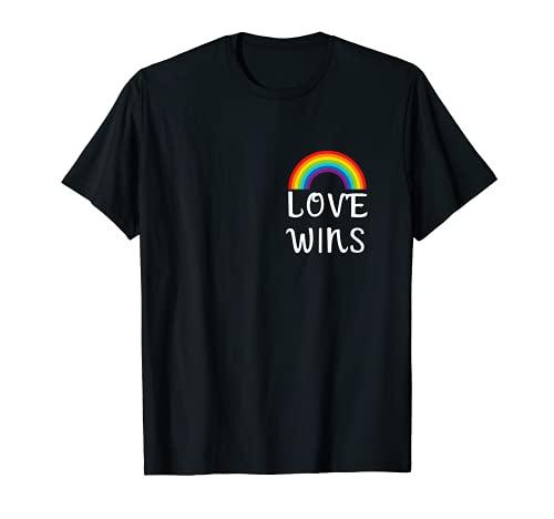 Pride Regenbogen T-Shirt - Love Wins Spruch - Schwul T-Shirt