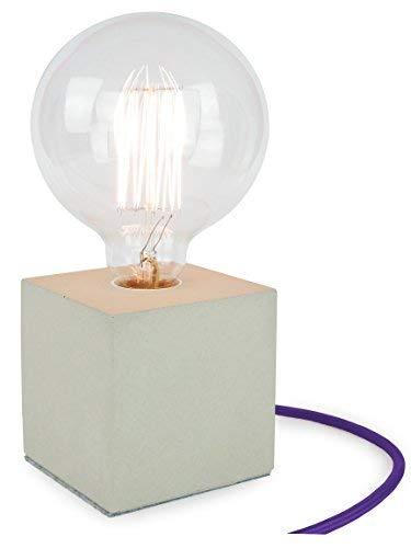 Buchenbusch Urban Design Cube, lámpara de mesa en hormigón 10 x 10 x 10 cm, casquillo E27, sin bombilla, cable textil violeta