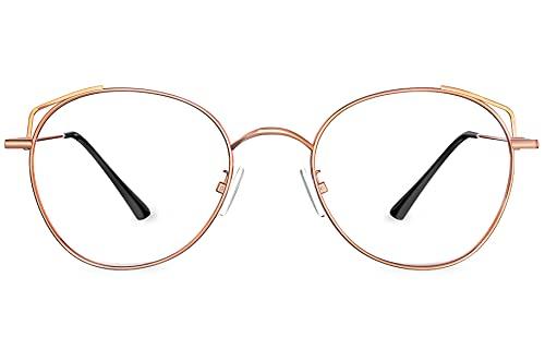 HBselect Gafas Luz Azul para Mujer, Gafas Filtro Azul Ligera con Montura, Gafas Ordenador Ojos Protección Para Tablets Móvil Televisión(Oro rojo)