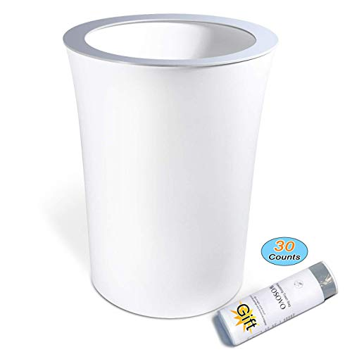 WOSOVO Modern Small Trash Can Hide Garbage Bag, Bath Bedroom Kitchen Wastebasket for Office Home Eco-Friendly, Round Garbage Can White 10L/2.6 Gal with Drawstring Trash Bags 30 Counts