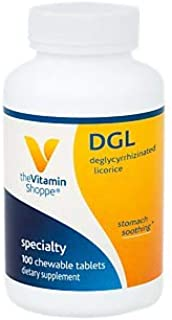 The Vitamin Shoppe DGL (Deglycyrrhizinated Licorice) 760MG, Stomach Soothing Herbal Supplement (100 Chewable Tablets)
