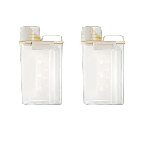 Hirse - Recipiente de almacenamiento de 2 kg, transparente, sellado con vaso medidor de plástico, portátil, contenedor de cereales para cocina, harina y comida de animales