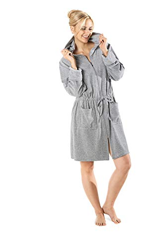 WeWo fashion Damen Kapuzenmantel 031 Melange grau, S