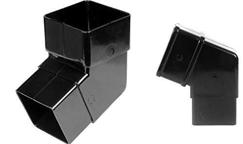 floplaststeckanschluss für Abflussrohr 65mm, quadratisch, Fallrohr 112,5Grad versetzt Bend–schwarz–2Stück