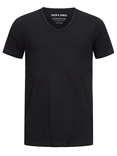 JACK & JONES Herren T-Shirt JJEBasic V-Neck Tee Herren-Shirt 12059219 Black L