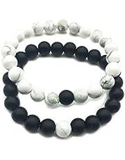 Gshy - Pulseras de distancia para parejas, ágata mate negro y perlas blancas, ideal como regalo para San Valentín, accesorio de piedras finas (2 unidades)