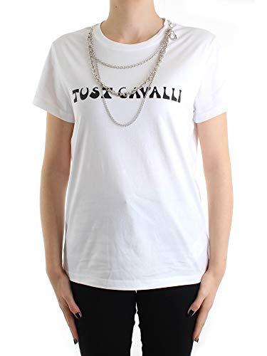 Just Cavalli S02GC0386 N21429 T-Shirt Donna Bianco L