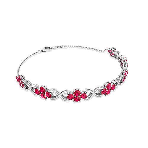 Rosec Jewels 10 quilates oro blanco redonda Red Rubí, relleno de vidrio