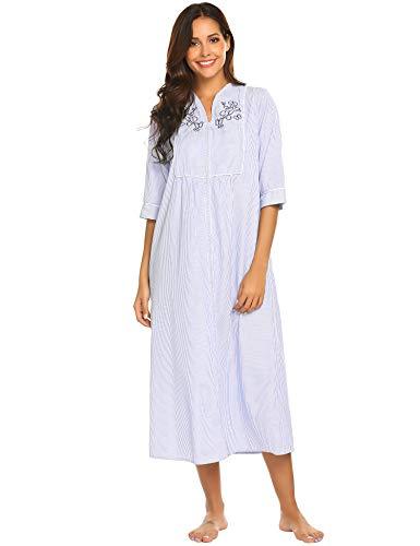 ADOME Damen Nachthemd Baumwolle Nachtkleid Locker Viktorianischer Nachtwäsche