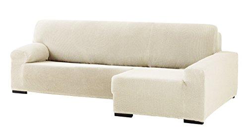 Eysa Cora Bi-Élastique Chaise Longue Droite, Vue frontale, Polyester Coton, Écru, 39x35x19 cm