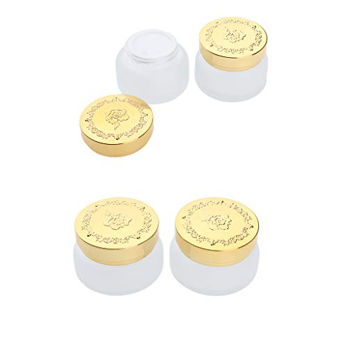 perfeclan Envases de Maquillaje de Viaje de Vidrio de 4 Piezas de 30 Y 50 G - Frascos Vacíos Pequeños Botes Redondos Recargables - Se Adapta a Bálsamo Labial, C