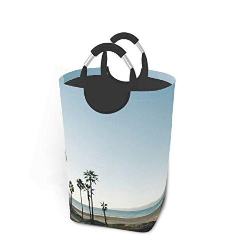 N\A Canasta de lavandería Plegable portátil con Palmeras del Sur de California, Organizador de canastas de Ropa Sucia con asa para Soporte de Libros de Juguete, Almacenamiento de Lavado