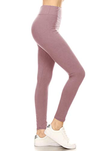 LYR128-MAUVE Yoga Solid Leggings, One Size