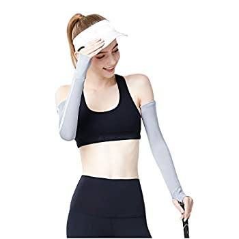 Fine UV Protection Cooling or Warmer Arm Sleeves for Men Women Kids Sunblock Protective Gloves Running Golf Cycling Driving 1 Pair Long Tattoo Cover Arm  Gray M