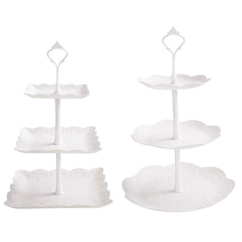 2 Set 3-Tier White Dessert Cake Stand, Plastic Pastry Stand Small Cupcake Stand Cookie Tray Rack Candy Buffet Set Up Fruit Plate and Trays for Wedding Home Birthday Party Decor Serving Platter