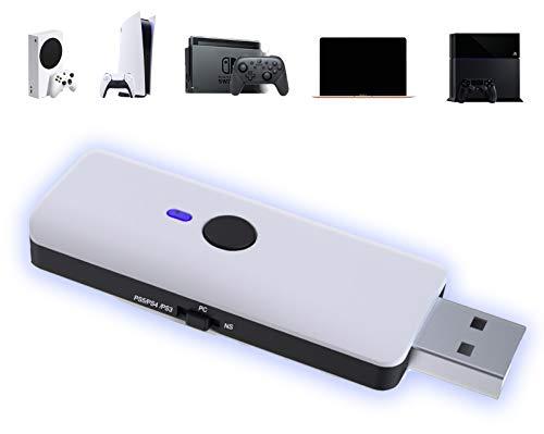 AQCTIM PS5 Adaptador USB inalámbrico Controlador Bluetooth para PS5/PS4/PS3/PC/X-box Adaptador de Controlador...