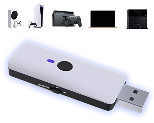 AQCTIM PS5 Adaptateur Bluetooth sans fil Manette PS5/PS-4/PS3/PC/X-box controleur Adaptateur pour N-Swithc PS5 Convertisseur contrôleur