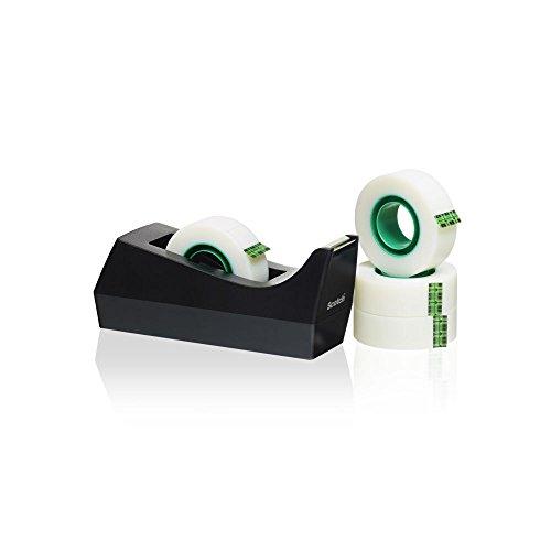 Scotch Dispenser Ricaricabile con 4 Magic Tape Rotoli Nastro Adesivo 3M, Nero