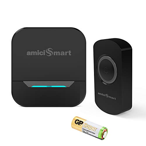 amiciSmart Wireless Doorbell 80dB Long Range Waterproof Push Button and Plug-in Receiver, LED Flash 32 Chime Tunes 3 Volume Levels with 1x12V Battery (Black)