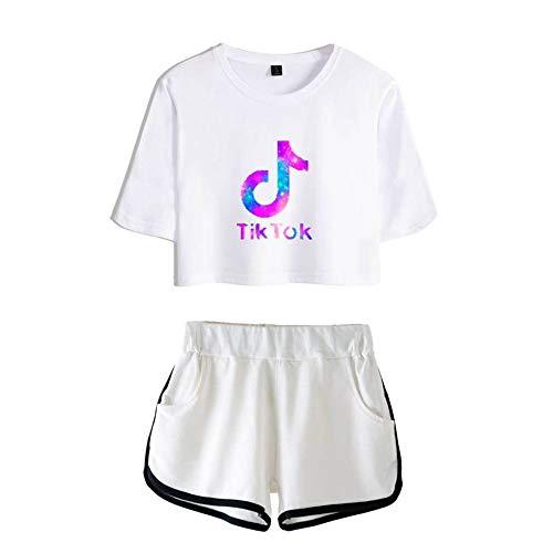 ZYPPX - Camiseta de manga corta para mujer con pantalones cortos, informal, para verano, casual, para deportes, correr, yoga, ropa, C, XXS