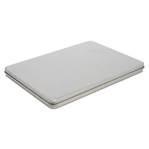 TRIOSK Blechdose mit Deckel, Metall Dose 15,5 x 11,5 x 1,0 cm groß, eckig, leer, Silber, rechteckige Aufbewahrungsbox DIN A6, Vorratsdose für Allerlei
