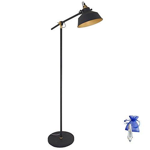 Stehleuchte Schwarz Matt Gold E27 Vintage Industrielampe Standleuchte Stehlampe im Retro Industrie Design Bürolampe 230V 1322ZW + Giveaway