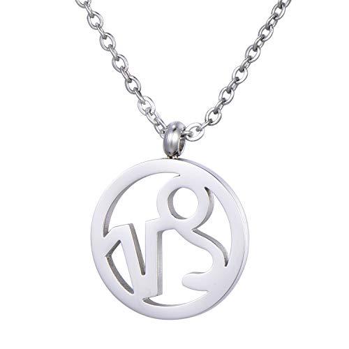 Morella Damen Halskette Sternzeichen Steinbock Edelstahl Silber im Samtbeutel