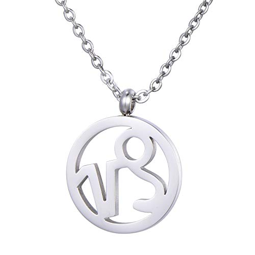 Morella Collar Acero Inoxidable Plata con Colgante Signo del Zodiaco Capricornio en Bolsa de Terciopelo