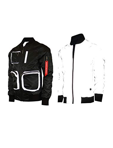 SCREENSHOT-S51053 Hip-Hop Urban Fashion Bomber Jacket - Outdoor Lightweight Streetwear Reversible Reflective Multipockets Zip Up Top-Black-Small