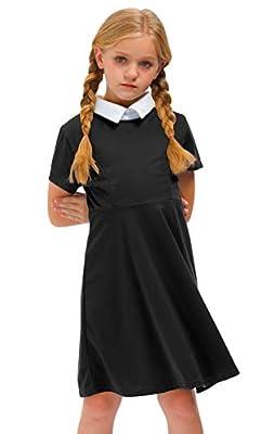 BesserBay Halloween Peter Pan Collar Short Sleeve Wednesday Addams Black Dress for Girls 11-12 Years