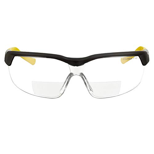 voltX GT ADJUSTABLE (2020 model) Occhiali di sicurezza da lettura BIFOCALI con certificazione CE EN166FT (Trasparente +2.5 diottrie), Rivestimento anti-condensa, Lente UV400.Bifocal Safety Glasses