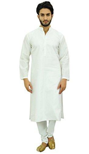 Atasi Männer weiß Kurta Pyjama Set Ethnische Punjabi beiläufige Lange Dupion Hemd-Large