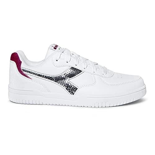 Diadora Scarpe Sneaker Donna FW2021-22 Modello RAPTOR LOW WN (White/Black Reptile - 40 EU)