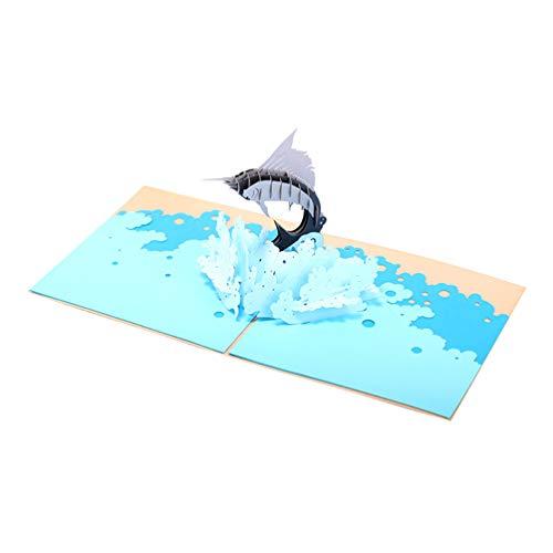 PRETYZOOM Tarjeta de Felicitación 3D Surf Sailfish Treasures Pop-Up Card Tema Océano Tarjetas Hechas a Mano para Aniversario Fiesta de Cumpleaños (Azul)