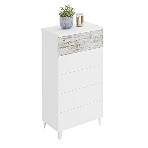 Habitdesign Comoda con 5 Cajones, para Dormitorio, Modelo Vintage, Acabado en Color Blanco Artik y Vintage, Medidas: 61 cm (Ancho) x 40 cm (Fondo) 118 x cm (Alto)