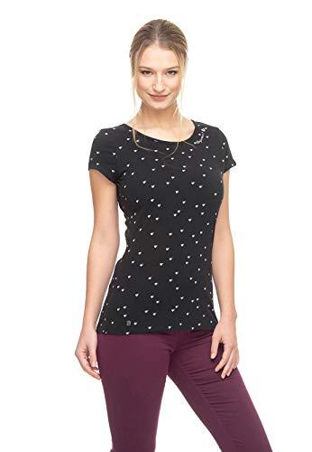 Ragwear T-Shirt Damen T-Shirt Mint Hearts 1921-10002 Schwarz Black 1010, Größe:S