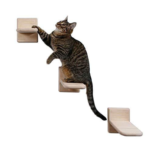 perfeciti 3PCS 12 19cm Gatos Escalada En La Pared | Escaleras Y Peldaños De Madera para Gatos | Escalera para Gatos DIY | Tumbona De Pared para Gatos