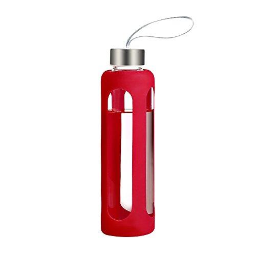 Botella de agua de vidrio con funda de silicona, fabricada con cristal de borosilicato resistente, elegante y duradera, sin BPA, deporte Botella 550ml,Rosy
