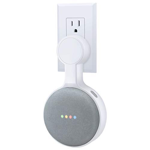 AMORTEK Outlet Wall Mount Holder for Google Nest Mini (Home Mini 2nd Gen), A Space-Saving Accessories for Google Nest Mini Voice Assistant 2nd Generation (White)