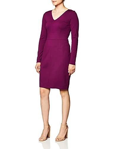 Lark & Ro Women's Long Sleeve V-Neck Paneled Waist Sheath Dress, Burgundy, 4 (Apparel)
