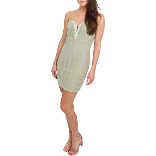 JVN by Jovani Womens Embellished Strapless Semi-Formal Dress Taupe 2