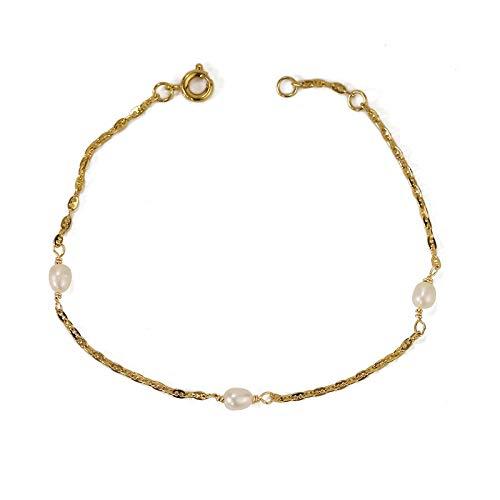 JCX Pulsera de Perlas de Cadena Fina de Oro Real Chapado al vacío Mujer