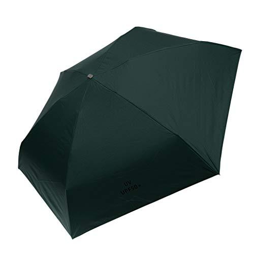 IPOTCH 2in1 Schirm Regenschirm Sturmfest Unisex Kompaktschirme mit Anti-UV Funktion Manuell Auf und Zu für Sommer/Regen - Grün