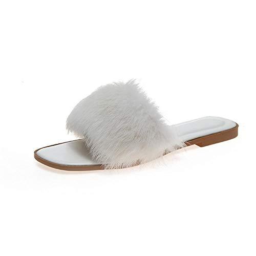 SWX-FlipFlop Zapatos Planos otoño e Invierno Zapatillas de Color Liso Zapatos Planos Moda Blanco 36