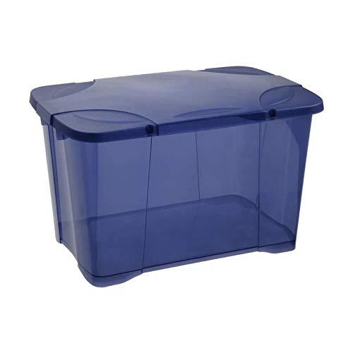 EDA PLASTIQUE Boîte de Rangement Clip'Box 40 L - Bleu Couvercle avec charniere - 54 x 36 x 33 cm