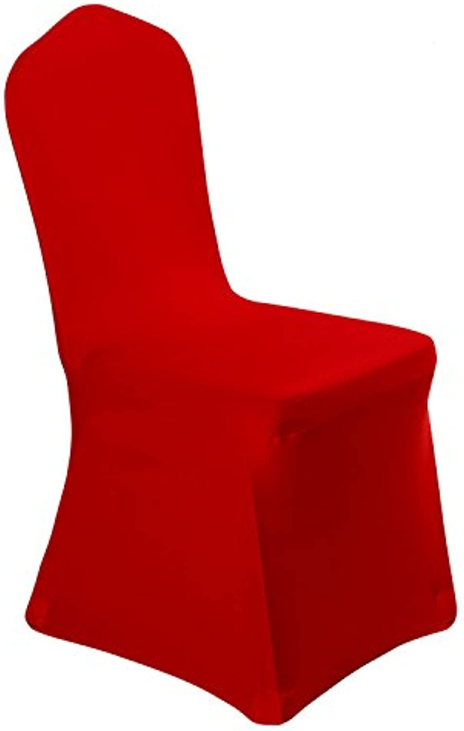 GFCC Pack of 10 Bright Red Stretch Chair Cover Spandex Fabric Restaurant Cover Supplies for Wedding Party Birthday Event Decoration