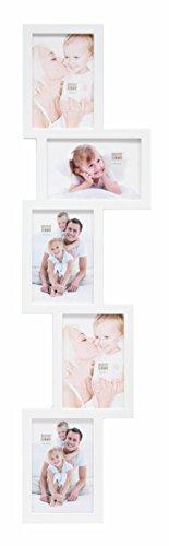 Deknudt Frames - Cornice portafoto Multipla, per Foto da 10 x 15 cm, Colore: Bianco, nero, legno;metallo