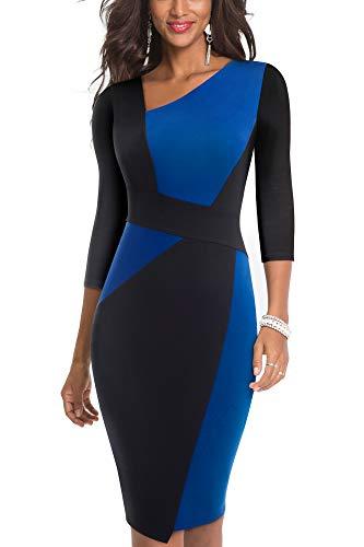 HOMEYEE Damen Vintage Ärmelloses Business Kleid aus Stretch mit Kontrastfarbe B517 (EU 38 = Size M, Blau + Schwarz-L)