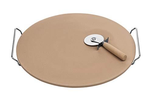–Cortador de Pizza de Piedra y Set con gres Junta/Cromo Soporte, Natural, gres, Natural, 4 x 40 x 38 cm